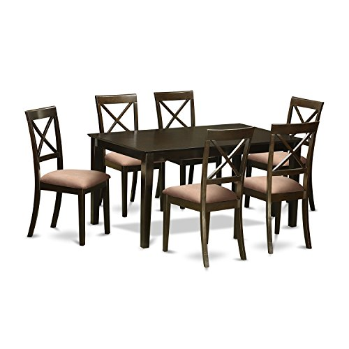East West Furniture CABO7S-CAP-C 7Piece Dining Set-Dining Table & 6 Microfiber Upholstery Dining Chairs