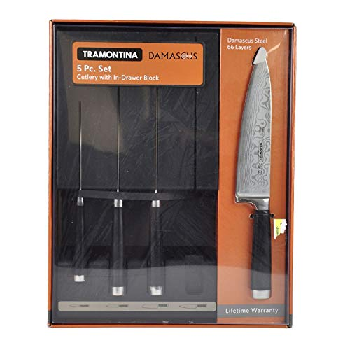 5 Piece Cutlery - Tramontina Damascus 5 Piece Cutlery Knife Set with In-drawer Block