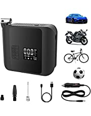 Woowind Tire Inflator Portable Air Compressor for Car Tires, 12 Volt Cordless Air Pump Powered by Rechargeable Battery with Pressure Gauge, 150PSI with Emergency Light for Car, Motorcycle, Bike