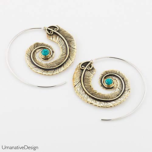 (Boho Hoop Earrings, Tribal Brass Silver & Turquoise Large Spiral Earrings, Feather Shape, Gypsy Style, Handmade Statement Jewelry)