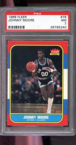 1986-87 Fleer #76 Johnny Moore Spurs NM PSA 7 Graded Basketball Card (Basketball Cards Graded)