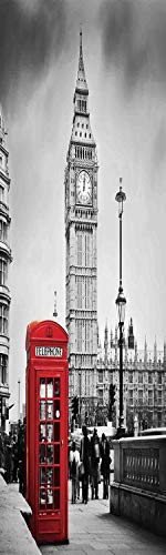 London 3D Decorative Film Privacy Window Film No Glue,Frosted Film Decorative,Famous Telephone Booth and the Big Ben in England Street View Symbols of Town Retro Decorative,for Home&Office,17.7x59Inch