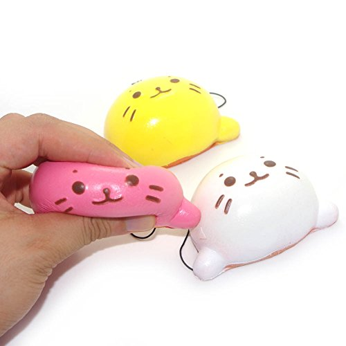 Squishy Kawaii Water Cat Sea Lion Cell Phone Charms Key Chains Bag Strap Pendants Kids Toy Home Decor Pack of 3