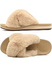 COFACE Pantoffels voor dames, pluche, bont, comfortabele zachte pantoffels van imitatiebont, open teen, platte sandalen voor vrouwen, comfortabele traagschuim, antislip, indoor/outdoor