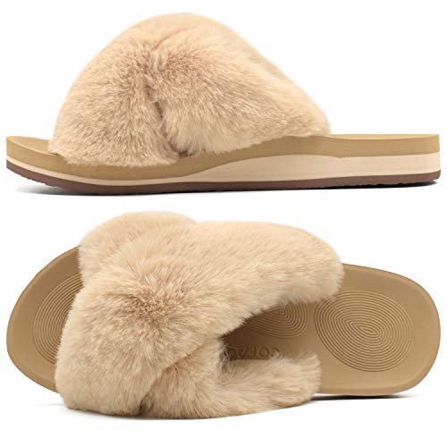 COFACE Womens Fuzzy Slides Fluffy Fax Fur Cross Slippers Open Toe Yoga Mat House Slippers Sandals with Arch Support for Indoor/Outdoor