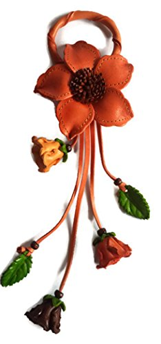 Luxury Genuine Leather Pendant/Tassel/Hanging Handbag Charm Flower - Old Rose color