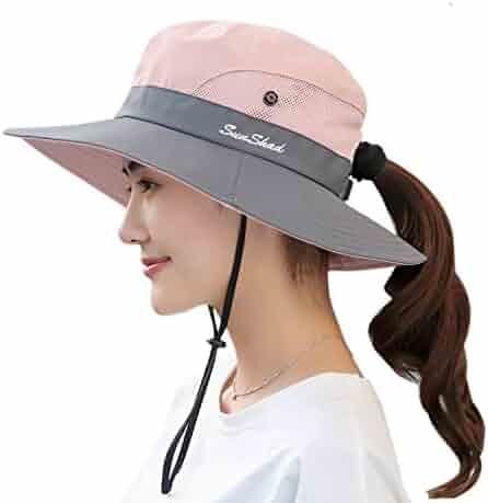 b324f44a Muryobao Women's Outdoor UV Protection Foldable Mesh Wide Brim Beach  Fishing Hat