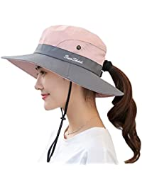 23ffc8e4bd2 Women s Outdoor UV Protection Foldable Mesh Wide Brim Beach Fishing Hat