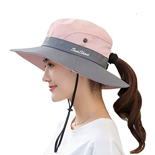 Women's Sun Hat Outdoor UV Protection Foldable Mesh Bucket Hat Wide Brim Summer Beach Fishing Cap Pink by Muryobao