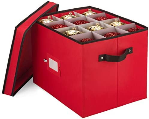 Premium Christmas Ornament Storage Box for Large Ornaments - 4-inch Compartment - Storage Container Hold 36 Holiday Ornaments and Xmas Decorations Accessories—Tear-Proof 600D Oxford