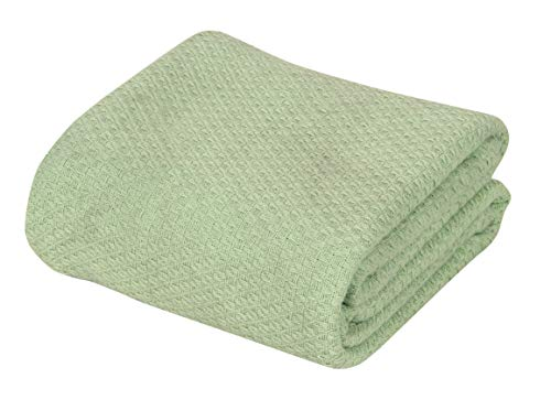DECORINY Kaperich Luxury Super Soft 100% Cotton Blanket, Queen, Surf Spray Green
