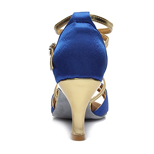 Roymall Scarpe Da Ballo Latino Da Donna Scarpe Da Ballo Tango Salsa Performance, Modello 805 7cm Blu