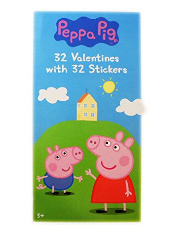32 Peppa Pig Valentine Day Sharing Cards with Stickers