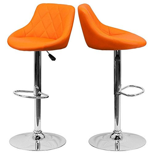 - Contemporary Bar Stool Bucket Seat Design Hydraulic Adjustable Height 360-Degree Swivel Seat Sturdy Steel Frame Chrome Base Dining Chair Bar Pub Stool Home Office Furniture - Set of 2 Orange #1984