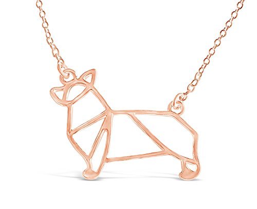 Rosa Vila Corgi Necklace, Corgi Origami Necklace, Corgi Gifts Perfect for Dog Lovers, Dog Jewelry for Women, Dog Necklaces for Lovers of Corgis, Gift for Corgi Lovers (Rose Gold Tone)