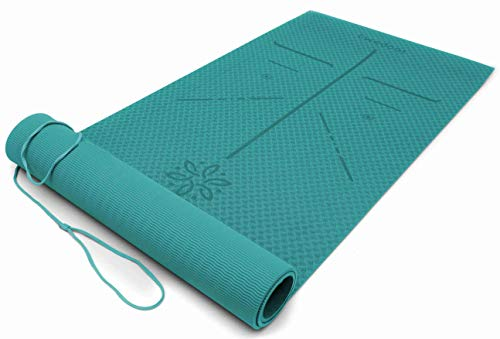 Ewedoos Yoga Mat with Alignment Lines, Eco Friendly TPE Yoga Mat Non Slip Textured Surfaces Exercise & Fitness Mat for Yoga, Pilates and Workout, Carry Strap Included ¼-Inch Thick (Jade)