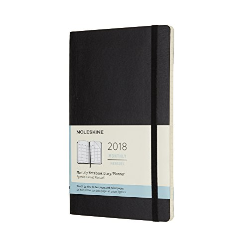 Moleskine 12 Month Monthly Planner, Large, Black, Soft Cover (5 x 8.25)