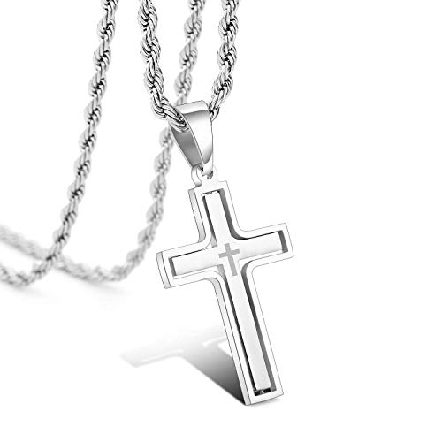 RMOYI Men's Personalize Rotatable Cross Necklace Stainless Steel Pendant Necklace Chain,24