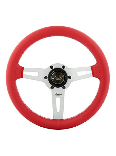 Leather Prototipo - Luisi Italy Racing Steering Wheel Sharav 315 Red Leather Silver Spokes 315mm