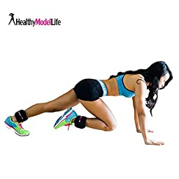 Ankle Weights Set by Healthy Model Life (2x5lbs Cuffs) - 10lb in total - Train Like A Model - At Home Workout Equipment for Slimming Thighs, Toning Glutes, & More