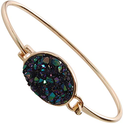 Gold Tone Bangle Womens - Humble Chic Simulated Druzy Cuff - Stackable Simple Thin Wire Gold-Tone Bangle Bracelets for Women, Iridescent, Peacock, Dark Blue, Metallic, Gold-Tone