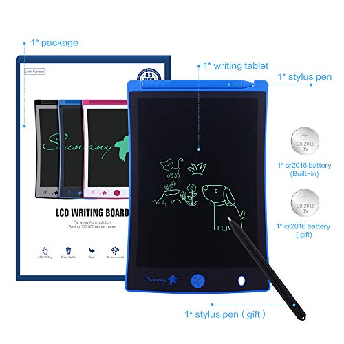 """LCD Writing Tablet,Electronic Writing &Drawing Board Doodle Board,Sunany 8.5"""" Handwriting Paper Drawing Tablet Gift for Kids and Adults at Home,School and Office, Blue"""