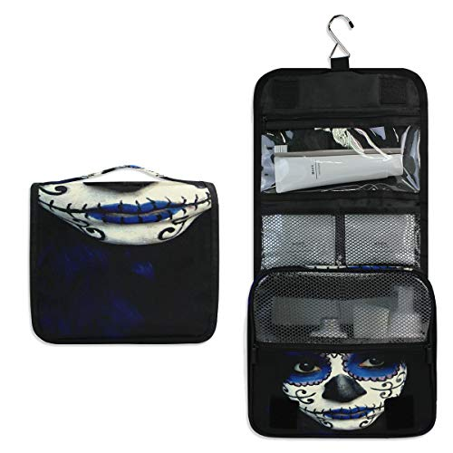 Hanging Toiletry Bag Guy Sugar Skull Makeup Large Cosmetic Makeup Travel Organizer for Men & Women with Sturdy Hook -