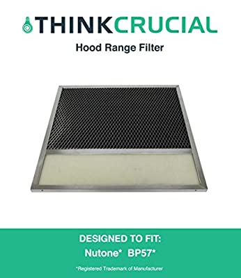 "Nutone Broan Aluminum Vent Hood Filter With Charcoal Pad Fits Range Hood Series 43000, 11-3/8"" x 11-3/4"", Compare to Part # BP57, R610050, BP57, BP-57, 61005, R61005, 610050, Designed & Engineered by Crucial Air"
