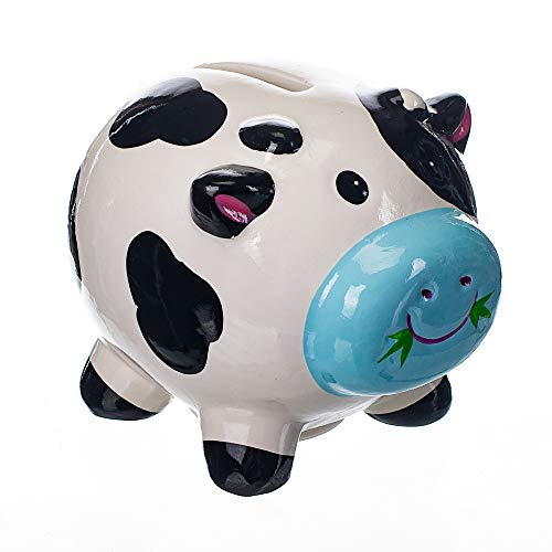 Gift Craft Dairy Cow Black & White 4 x 3.5 Inch Ceramic Decorative Coin Bank