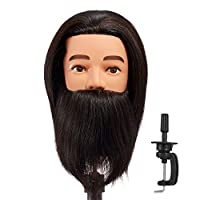 Hairginkgo 100% Human Hair Male Mannequin Head with Beard, cosmetology Mannequin Training Head (black)
