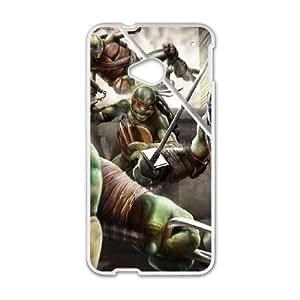 Cute TPU Teenage Mutant Ninja Turtles HTC One M7 Cell Phone Case White