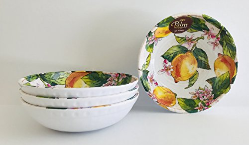 White With Lemons And Pink Flowers Round Melamine | Dinner | Lunch | Salad (Set Of 4 | Soup | Salad | Dessert Bowls | 8 x 2 in)
