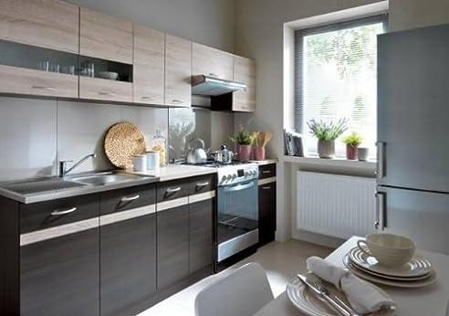 Küche Küchenzeile Einbauküche Junona 240cm Eiche Sonoma/Wenge ...
