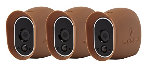 3 x Silicone Skins Compatible With Arlo Smart Security - 100% Wire-Free Cameras — by Wasserstein (Brown)
