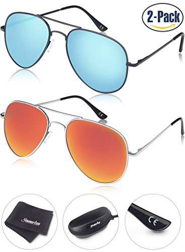 Young4us Aviator Sunglasses Polarized Metal Mirror UV400 Men Women - Sunglasses Prescription Fast