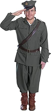 Men's 1900s Costumes: Indiana Jones, WW1 Pilot, Safari Costumes Ww1 Army Officer Uniform Costume $88.99 AT vintagedancer.com