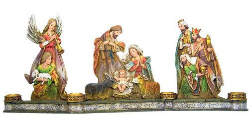 Nativity Pillar Candle - Nativity of Christ 18-inch Advent Season Christmas Taper Candle Holder