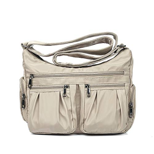 - Nylon Crossbody Bags for Women Multi Pocket Shoulder Bag Waterproof Travel Purses and Handbags with Card Slots(Khaki-Updated)