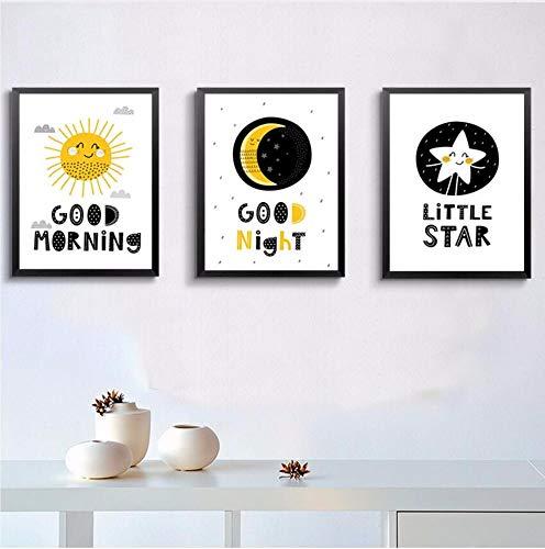 WSTDSM 1Nordic Cartoon Sun Moon Stars Good Morning Goodnight Children's Room Canvas Print Poster Picture Wall Home Decoration 60X90Cmx3 No Frame (Best Good Night Photos)