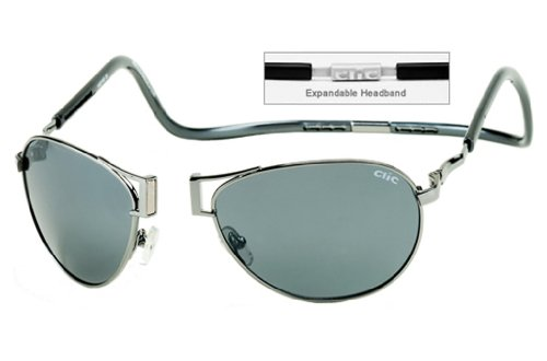 CliC Readers Aviator XXL Sunglasses Gunmetal Frame Polarized Grey - Sunglasses Clic
