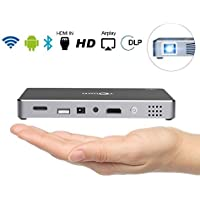Mini Projector, Portable Pico Video DLP Projector, Android 4.4 Wifi Mobile 1080P Full HD Mini Projector, Bluetooth Speaker HDMI up to 120inch Screen Outdoor LED LCD Projector Home Theater, Grey