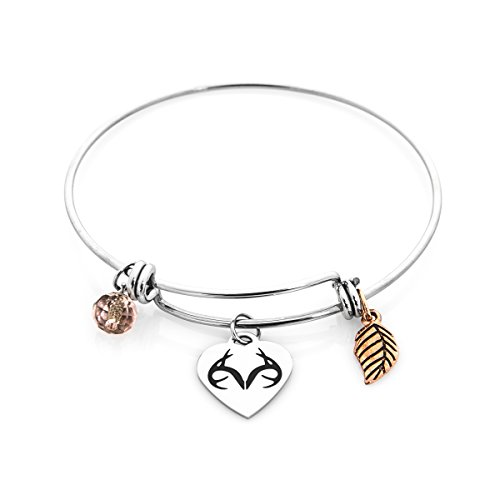 Apg Arrows (Realtree Stacking Charm Bracelet Stainless Steel Bangel Antler Leaf Bead)