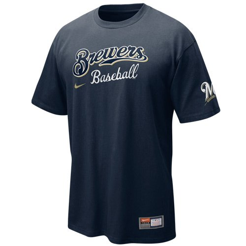 Nike Milwaukee Brewers Navy Blue 2011 MLB Practice T-shirt (Nike Mlb Practice Tee)