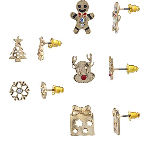 Lux Accessories Gold Tone Christmas Gingerbread Novelty Multi Earring Set 5PC