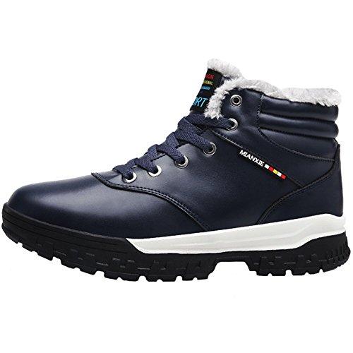 Jions Mens Inverno Neve Stivali Da Neve Impermeabile Allacciatura Sneakers Alla Caviglia Caldi Stivaletti Allaperto Scarpe Con Fodera In Pelliccia Un Blu