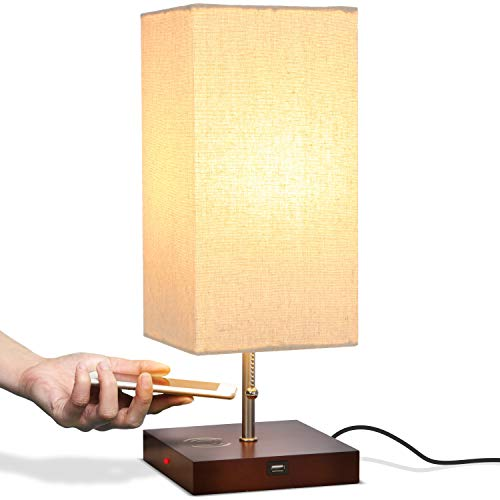Brightech Grace LED Table Lamp with Wireless Charging Pad and USB Port - Modern Soft, Ambient Light, Unique Bedside & Desk Light - Perfect for Bedroom, Living Room, or Office - Havana Brown