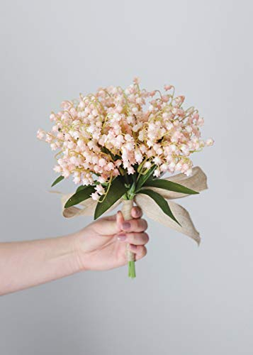 The Of Lily Valley Bouquet (Pink Artificial Lily of The Valley Spring Bouquet - 13