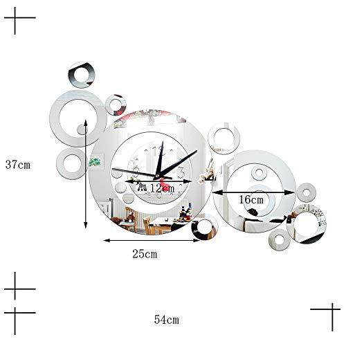 1 piece Circle Three-dimensional Environmental Circle Mirror Wall Clock Living Room Wall Decoration -