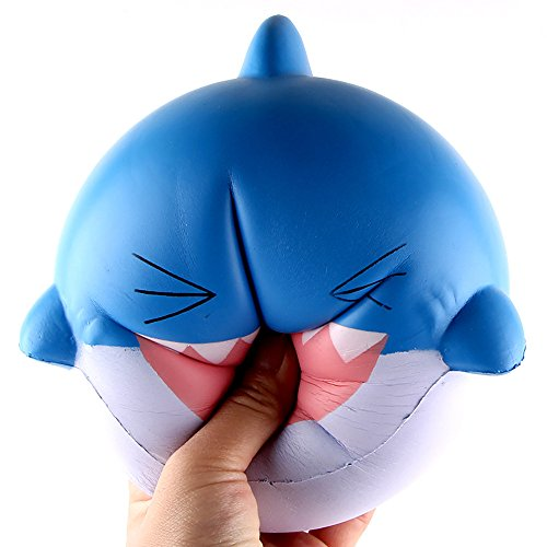 Shark Stress Reliever - Stress Reliever Toys, Sacow 15cm Big Lovely Happy Shark Scented Squishy Slow Rising Squeeze Toys (Blue)