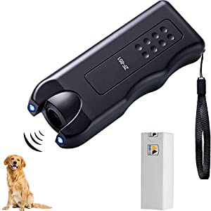 BBTO LED Ultrasonic Dog Repeller Handheld Dog Trainer Device 3 in 1 Anti-Barking Stop Bark Dog Deterrent Training Tools, Black